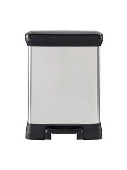 Cos gunoi cu pedala CURVER, model DUO, plastic, 10 L + 18 L, 39 x 50.5 x 29 cm , Gri