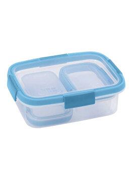 Set 3 cutii alimente SMART FRESH, CURVER, 2 x 0.2 L +1 x 1 L, 20.3 x 7 x 15.4 cm, forma dreptunghiulara, plastic, Albastru