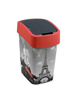 Cos gunoi cu capac batant CURVER, model FLIP BIN PARIS, plastic, 25 L, 26 x 47 x 34 cm, Rosu imagine 2021