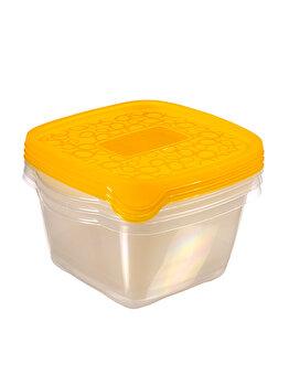 Set 3 cutii alimente TAKE AWAY, CURVER, 3 x 1.1 L, 17.5 x 12 x 16 cm, forma patrata, plastic, Galben imagine 2021