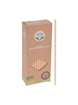 Set Eco Friendly, 100 paie ECO, 170455390, 8.5 x 4.5 x 20 cm, hartie, Maro imagine