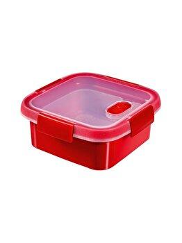 Cutie alimente MICRO-WAVE, CURVER, 0.9 L, pentru microunde folosire pentru dezghetare, 16.2 x 7 x 16.2 cm, patrata, plastic, Rosu