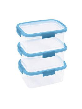 Set 3 cutii alimente SMART FRESH, CURVER, 3 x 1.2 L, 26 x 26.4 x 15.7 cm, forma dreptunghiulara, plastic, Albastru