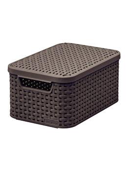 Cutie depozitare S cu capac si manere STYLE CURVER, 7 L, 29.1 x 14.2 x 19.8 cm, plastic, model tip rattan, Maro