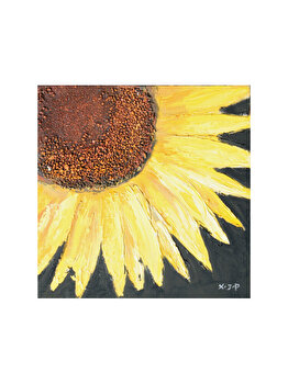 Tablou pictat manual Mendola Art, Floarea Soarelui B, 187-CYGY-0292B, 40 x 40 cm imagine