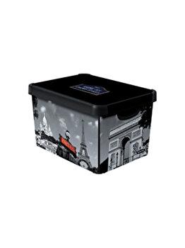 Cutie depozitare L multifunctionala cu capac CURVER, DECO STOCKHOLM model PARIS, 22 L, 39.5 x 25 x 29.5 cm, plastic, Negru imagine