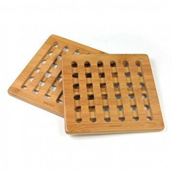 Set 2 suporturi pentru vase fierbinti KingHoff, bambus, forma patrata, KH-1216, Maro imagine