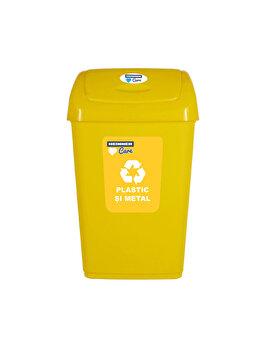Cos gunoi cu capac batant pentru reciclare selectiva, 25 L, HR-PW-4525G, plastic, Galben