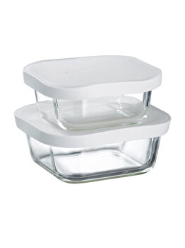 Set 2 recipiente patrate de sticla cu capace de silicon 450 ml +750 ml, Ambition, 59705, sticla, Gri