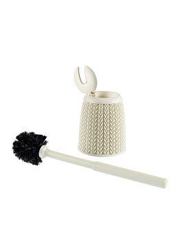 Perie toaleta cu recipient CURVER, model KNIT, plastic, 14.1 x 42.5 x 14.1 cm, Crem
