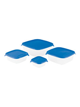 Set 4 cutii alimente FRESH&GO CURVER, 0.25 L+0.8 L+1.7 L+2.9 L, 23 x 8.3 x 23 cm, forma patrata, plastic, Albastru imagine