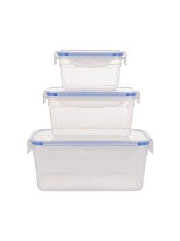Set 3 caserole Excellent Houseware, din plastic, 024000060, 500-1500 ml, 18 x 18 x 8.5 cm, plastic, Incolor