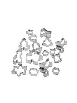 Set 15 forme decupat prajituri La Cucina, 17 x 8 cm, inox, Gri