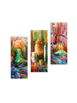 Tablou decorativ, Marvellous, 537MRV5107, 3 piese, 70 x 50 cm, MDF, Multicolor imagine