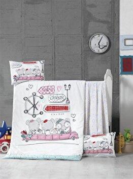 Set lenjerie de pat pentru copii, Victoria, bumbac ranforce, 100 x 150 cm, 121VCT2036, Alb imagine