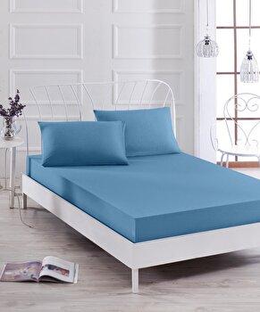 Set lenjerie de pat dubla, EnLora Home, bumbac/poliester, 160 x 200 cm, 162ELR0639, Albastru imagine