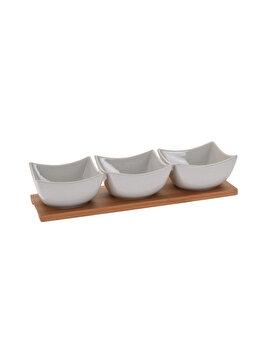 Set 3 boluri servire Excellent Houseware, 9.5 x 9.5 x 5.5 cm, portelan, Alb
