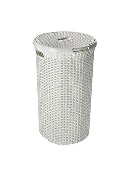 Cos depozitare rufe CURVER, model Rattan, plastic, 48 L, 39.8 x 60.9 x 39.8 cm, Alb imagine