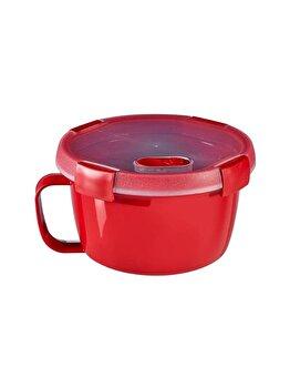 Cutie alimente MICRO-WAVE, CURVER, 0.9 L, pentru microunde folosire pentru supa/noodles, 15.7 x 9.6 x 15.7 cm, rotunda, plastic, Rosu