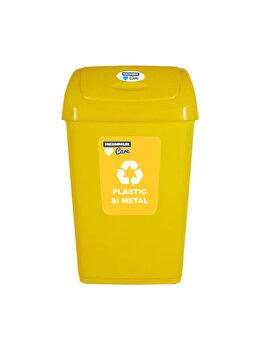 Cos gunoi cu capac batant pentru reciclare selectiva, 50 L, HR-PW-4550G, plastic, Galben