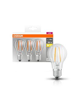 Set 3 becuri Led Osram, E27, 7W, 806 lumeni, lumina calda 9290 imagine