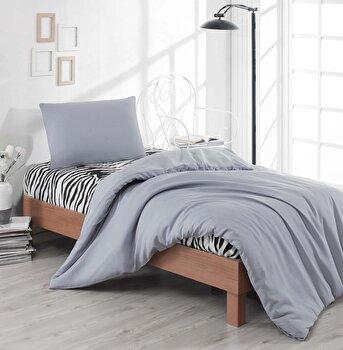 Set lenjerie de pat single, EnLora Home, bumbac/poliester, 160 x 240 cm, 162ELR1347, Gri imagine