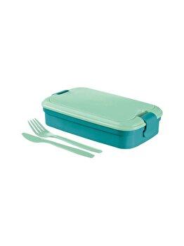 Cutie alimente LUNCH & GO, CURVER, 1.4 L, cu tacamuri si separator, 13.5 x 6.3 x 23.6 cm, plastic, albastru, Albastru imagine 2021
