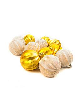 Set 12 globuri Holly, aurii, 6 cm imagine 2021