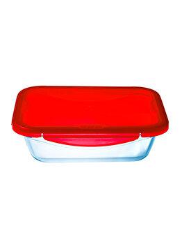 Recipient dreptunghiular cu capac de plastic 1.7 L, Ocuisine, 40412, sticla termorezistenta, Rosu elefant