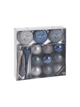 Set 15 globuri Koopman Int., 17 cm, plastic, Albastru imagine 2021