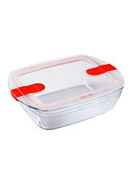 Recipient dreptunghiular cu capac de plastic 2.5 L, Ocuisine, 40419, sticla termorezistenta, Incolor imagine