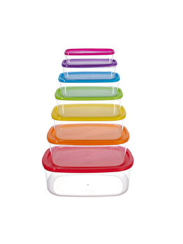 Set 7 caserole dreptunghiulare cu capac, Vanora Home, Joy, 4500 ml, Multicolor