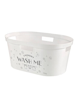 "Cos depozitare multifunctional CURVER, model INFINITY decor ""Wash me"", plastic, 40 L, 26.5 x 58.5 x 38.5 cm, Gri imagine"