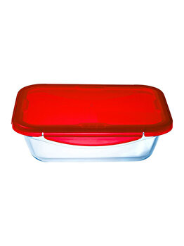 Recipient dreptunghiular cu capac de plastic 3.3 L, Ocuisine, 40413, sticla termorezistenta, Rosu imagine 2021