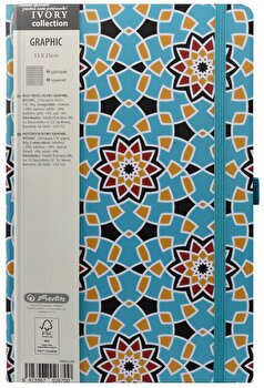 Bloc Notes Ivory Graphic, 240 pagini, patratele, motiv Mosaic