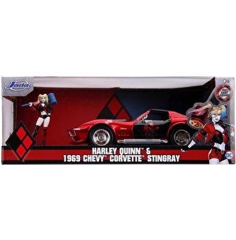 Masinuta Harley Quinn 1969 Chevy Corvette, scara 1:24