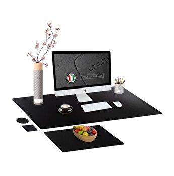 Set mapa birou Office pentru protectie, Unika, din piele PU, 1 suport farfurie si 2 suporturi pahar, negru, 89 cm