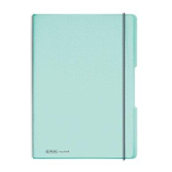 Caiet My.Book Flex A4, dictando+patratele, 2x40 file, turcoaz transparent cu logo alb
