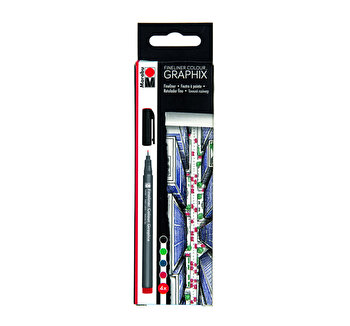 Set 4 linere Graphix Fineliner, Marabu, Multicolor