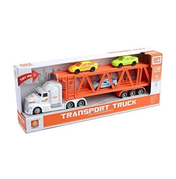 Camion trailer cu 3 masinute, cu sunete si lumini, scara 1 la 50