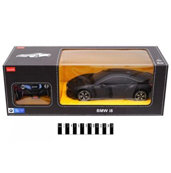 Masina cu telecomanda BMW i8, negru, scara 1 la 18