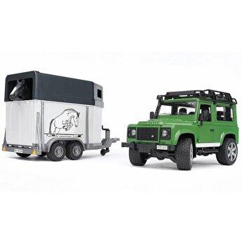 Jucarie Bruder, Leisure Time - Masina de teren Land Rover Defender cu remorca si cal