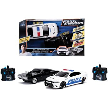 Set masinute Fast and Furious RC Toyota Supra si Dodge Charger, scara 1:16