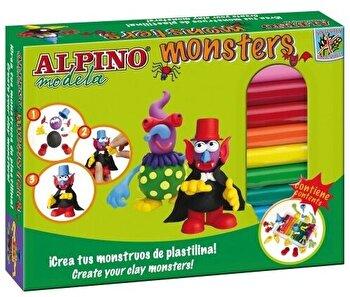Kit Alpino Monsters 12 culori plastilina + 4 seturi accesorii