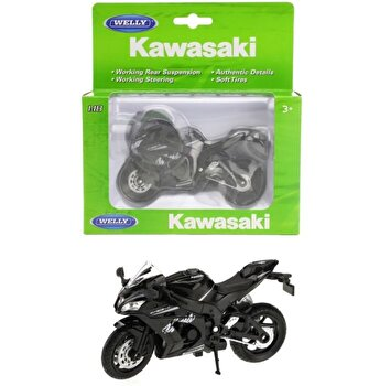 Motocicleta metalica Welly - Kawasaki 2017 Zx-10RR, scara 1 la 18