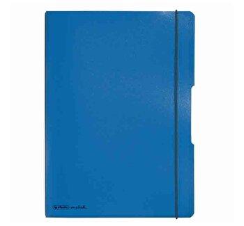 Caiet My.Book Flex A4, dictando+patratele, 2x40 file, coperta albastru inchis, elastic negru