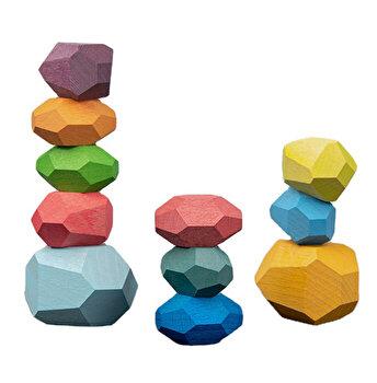Blocuri Echilibru, 11 piese din lemn, joc educativ, multicolor