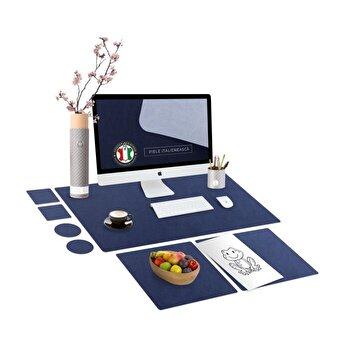 Set mapa birou Family & Friends pentru protectie birou, Unika, din piele PU cu 2 suporturi farfurie si 4 suporturi pahar, albastru, 69 cm