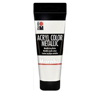 Culoare acrilica Marabu, 100 ml, Alb Metalizat