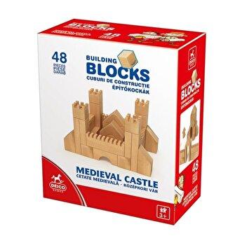 Set cuburi de constructie, 82 piese, lemn